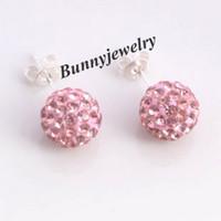 Wholesale Fashion Jewelry Silver Plated Shamballa Rhinestone MM Ball Stud Earrings Colors Choose Drop Ship Pairs
