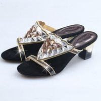 Cheap 2015 Black Slippers Sandal Floral Crystal Rhinestones 5cm High Heels High Quality Prom Evening Party Dress Women Lady Shoes Slippers