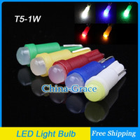 Wholesale 50PCS T5 W LED Dashboard Lights Super Bright Dashboard Gauge LED Light Bulbs White Blue Green Red Yellow
