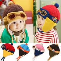 baby velvet yarn - Pilot hat kid velvet Ear caps muff cap bear star air force cap Popular Crochet Hat children winter warm baby cap bonnet