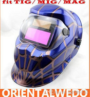 Wholesale Solar Auto Darkening Welding Helmet Arc Tig Arc MAG Mask blue welder new brand