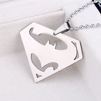 batman symbols - Superman v Batman Dawn of Justice Stainless Steel Silver Hero Symbol Pendant Necklaces Batman Superman Charm Halloween Necklace Jewelry
