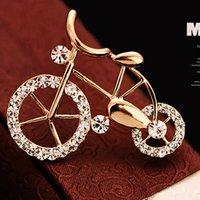 bicycle brooch - Bike Bicycle Brooch Pins wedding brooches pins Vogue Female Corsage brooch Shawl scarf buckle Clear Crystal Rhinestone CZ Punk