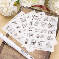 Wholesale 4 Sheets pack Black And White Graffiti Bear Transparent Sticker for Scrapbooking Diary Kids Children