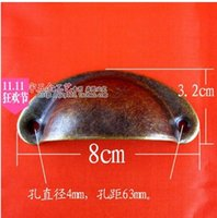 chinese furniture antique - BL086 antique furniture Chinese medicine plate semicircular tin handle real drawer handle semicircular shell handle