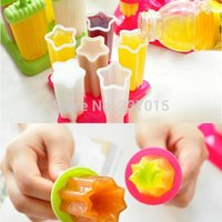 Cheap 6Pcs Set DIY Ice Cream Frozen Popsicle Maker Mold Icepop Block Juice Lolly Pole Tray