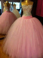 Wholesale Real Image Pink Ball Gown Quinceanera Dresses Strapless Crystal Colorful A Line Arabic Evening Cheap Sweet Prom Dress BO9221
