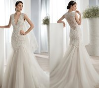 Cheap Demetrios 2016 Mermaid Wedding Dresses Deep V Neckline Lace Applique Bodice Sleeveless Ruched Tulle Sweep Train Bridal Gowns VE 627