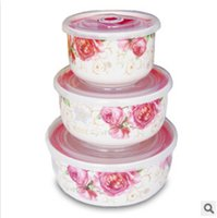 Wholesale ceramic fresh bowls set Chinese bone china preservation lunch box vacuum seal silicone lid crisper tableware F