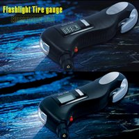 Wholesale 50PCS HHA518 Flashlight Tire Gauge with Emergency Tool with Digital LCD Car Tyre Tire Pressure Gauge Meter Hammer For Car Motorcycle Bicycle