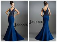 Wholesale 2015 Janique Mother of the Bride dress Mermaid V Neck Straps Sweep Train Backless Navy Satin Beaded Mother of the Groom Dresses