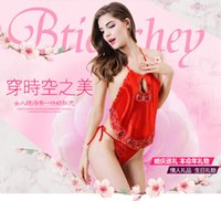 Wholesale Classical red embroidered red chinese style chest covering Ms Sexy adult silk temptation lingerie nightgown