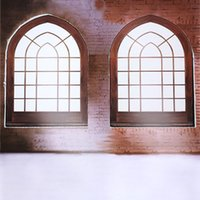 Wholesale 5X7ft Brick Wall Windows For Wedding Photography Vinyl Backdrops Backgrounds Computer Printed Photos Art New Camera Background Backdrop
