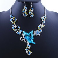 beach wedding necklace - New Arrival Butterfly Beach garden Wedding bridal Jewelry sets Necklace And Earring Masquerade Women Girl Prom Evening Jewelry WWL