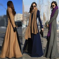 Wholesale 2016 Autumn and winter Trench Coats Europe and America Plus Size Slim thin slit mopping big swing long wool coat woolen coat