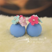 Wholesale Mix Colors Candy Colors Pearl Ball Stud Earrings Nice Double Balls Earrings flower stud For Women