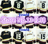 authentic kids ryan - Factory Outlet Youth Anaheim Ducks Hockey Jerseys Teemu Selanne Corey Perry Ryan Getzlaf Jersey Kids Home Black White Authentic Jer