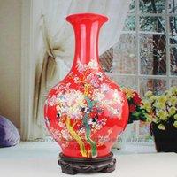 porcelain vase - Jingdezhen porcelain vase Chinese red rose porcelain bottle The vase New ceramic furnishing articles
