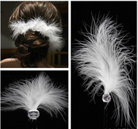 Cheap White Feather Wedding Hair Pins Bridesmaid Small U Hairpins Girl Hairbands Clips for Prom Party Bridal Accessories 2015 with Rhinestone