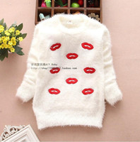 Cheap Hot sale new 2014 Spring and Autumn Children's clothing mohair sweater girls sexy lipstick