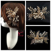 beaded tops for evening wear - Crystal Pearls Beaded Bridal Comb Elegant Bride s Hair Pieces Gold Decoration Top Sale Online Head Wear Evening Prom Party For Ladies