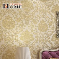 Wholesale Beige yellow blue Flocking Damask Wallpaper warm cool color Wall Paper roll for Bedroom hallway study room TV Back