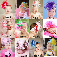 feathers - New arrive Baby Girl Christmas Gifts baby kids girl hairband bow feather with satin headband Baby Girl Flower Headband