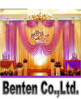 Wholesale llfa1465 m m Fabric Satin Drape Curtain Wedding Backdrop Canopy Ribbon Wine Party Stage Celebration Favors
