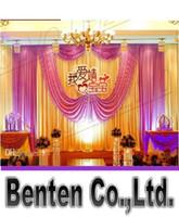 Wholesale llfa1465 m m Fabric Satin Drape Curtain Wedding Backdrop Canopy Ribbon Wine Party Stage Celebration Favors