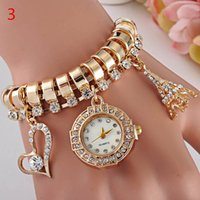 belt rivets - Womens Bracelet Watch Bands Rivets Tide Belt Wrapped Diamond LOVE Dial Ladies Fashion Gold Bracelet Wrist Watch Factory Outlet
