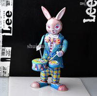 Wholesale Retro Iron Drummer Rabbit Robot Wind Up Toys Classic Tin Toys For Children Vintage Handmade Crafts