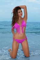 bandeau halter swimsuit - 2015 Sexy Bikini String Triangle Swimwear Fringe Tassels Swimsuits Bandeau Halter Beachwear Summer Swim O Metal Padded Q7