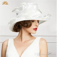 Wholesale Women Organza Hat Party Dress Hat Wedding Hat Organza Flower Church Hat Wide Brim Wedding Hat Derby Organza Hat Three Colors Available
