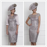 Cheap 2015 New Sexy Mother of The Bride Dresses With Bolero Jacket Crew Neck Cap Sleeves Lace Crystal Beads Knee Length Sheath Party Dress