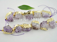 druzy jewelry - 1 Strand Natural Geode Amethyst Quartz Druzy Connector Pendant Beads Purple Druzy Crystal With Gold Plated Gem Stone Jewelry
