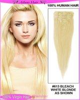 Cheap 70g Brazilian Virgin Remy Hair Clip In Human Hair Extensions 7 pieces Full head bleach blonde #613 Color free shipping