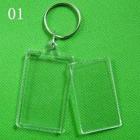 photo frame gifts - DHL Blank Acrylic Keychains key chains Insert Photo plastic Keyrings Christmas gift