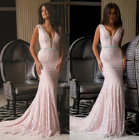 Wholesale New Arrival Mermaid Evening Dresses Lace Pink Sleeveless Sequins Beaded Crystal Sash Sexy V Neck Custom Formal Celebrity Gown