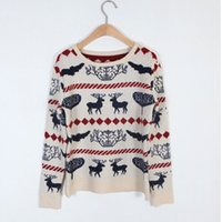 christmas jumpers - 2014 New Pullover Women Ladies XMAS Thick Knitwear Christmas Reindeer Jumper Knitted Sweater Colors