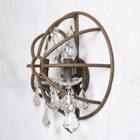 antique crystal sconces - Loft American Country Style Wall Lamp Bird Cage Shaped Sconce Antique Iron Crystal Hanging Home Decoration order lt no track