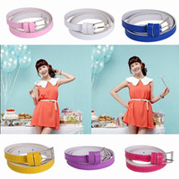 Wholesale 2015 Chic Women Lady Belts Stylish All match Solid Color PU Leather Buckle Waistband Belts Candy Mix Colors Choose ZUU