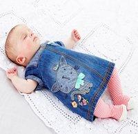 baby clothing fabric - 2015 Spring Summer Baby Girls Cap Sleeve Dress Denim Fabric Cats Patch Girl Dresses Cotton Girl Dressy Children Kids Clothing Blue K3640
