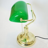 Wholesale Vintage Bank Table Lamps Retro Brass Bankers Lamp Green Glass Lampshade Office Study Room Table Lamps Desk Lamp