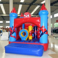 Wholesale AOQI amusement park equipment commercial use spider man theme outdoor inflatable jumping castle for kids made in China