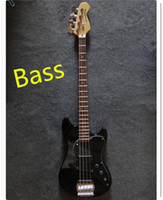 Wholesale black color bass guitar mahogany body with shield Rosewood Fingerboard Can send pictures customization