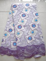 Wholesale african lace fabric lilac lace swiss voile lace High quality swiss lace with cotton lace yards pc Heavy lace