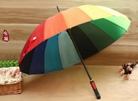 Wholesale Rainbow Umbrella High Quality K Golf Umbrella Automatic Long handle Umbrella Sunny Rainy Pongee Rainbow Adult Color Umbrella