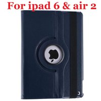 Wholesale New ipad Rotating Magnetic Stand Leather Case Smart Cover For iPad Air ipad ipad6 auto Sleep Wake up function colors in stock
