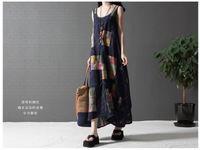 Wholesale fashion summer style cotton linen vintage print plus size women casual long loose dress vestidos femininos party dresses
