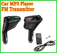 Wholesale NEW Car MP3 Kit Payer Music Player WMA Wireless FM Transmitter Radio Modulator Multi color LCD USB SD MMC Slot Remote control audio cable